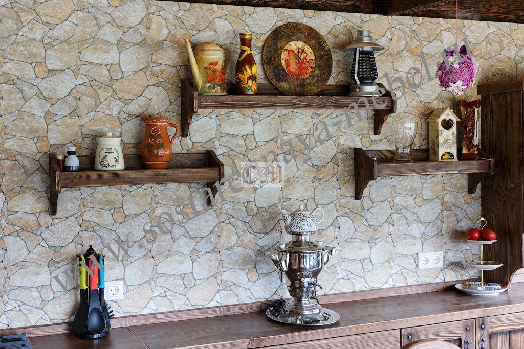 Полка в интерьере кухни
